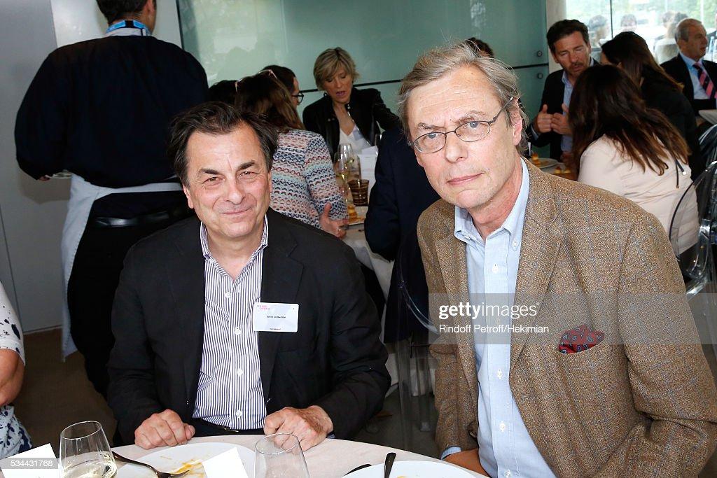CEO of Tallandier Editions, Xavier de Bartillat and Autor of the book 'Fouche', 'Prix Litteraire des Essais France Television 2015', Emmanuel de Waresquiel attend the 'France Television' Lunch during the 2016 French Tennis Open - Day Five at Roland Garros