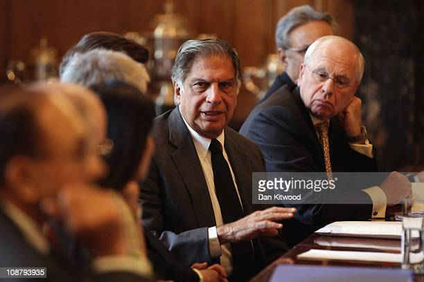 CEO of TATA Ratan Tata speaks during a meeting of the 'UKIndia CEO Forum chaired by British Prime Minister David Cameron at 10 Downing Street on...