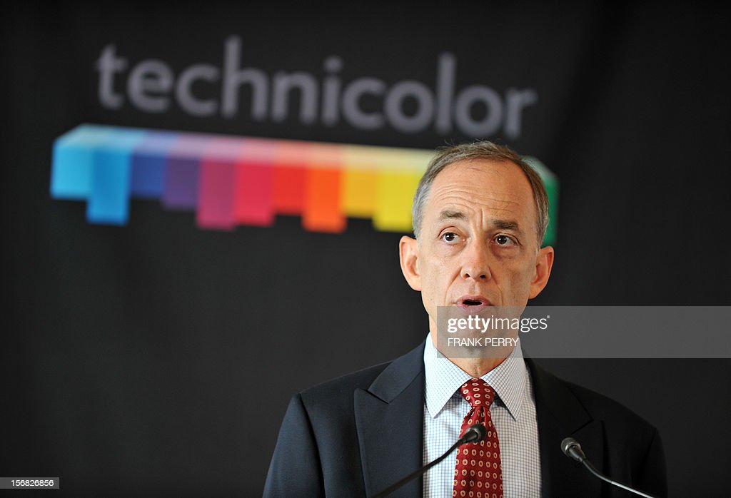 CEO of Technicolor Fred Rose speaks during the press conference inaugurating the new Technicolor research and development centre in Cesson-Sevigne near the central western city of Rennes on November 22, 2012. AFP PHOTO FRANK PERRY
