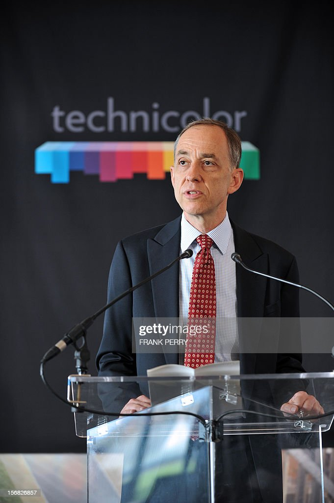 CEO of Technicolor Frederic Rose speaks during the press conference inaugurating the Technicolor research and development centre in Cesson-Sevigne, near the western city of Rennes on November 22, 2012.