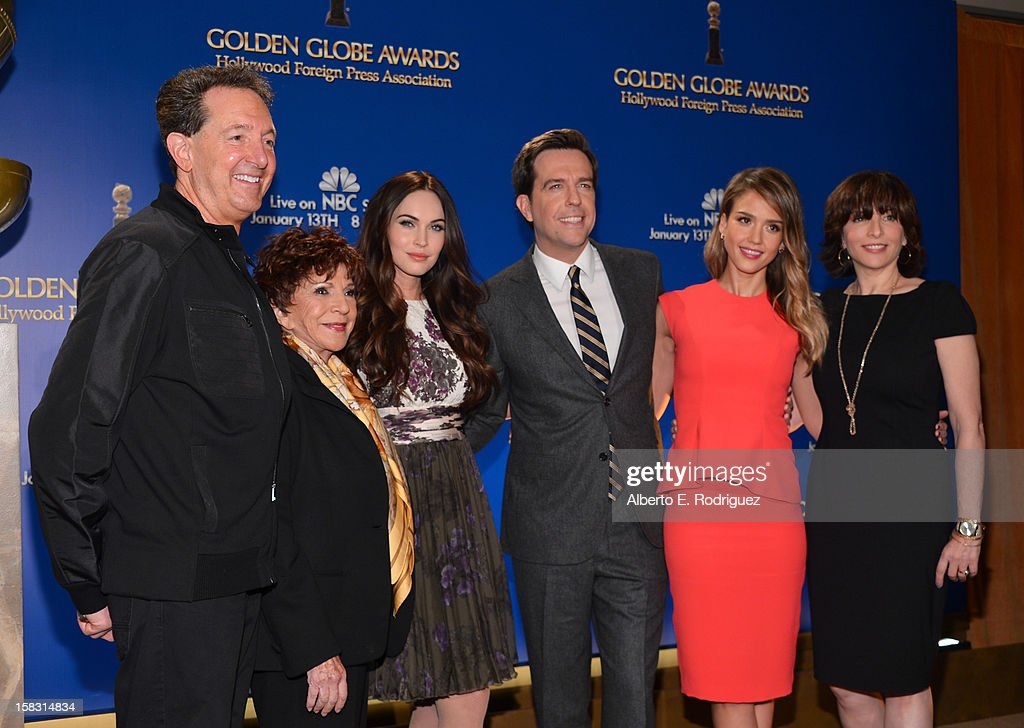 EVP of Television for Dick Clark Productions Barry Adelman, Hollywood Foreign Press Association President Dr. Aida Takla-O'Reilly, actors Megan Fox, Ed Helms and Jessica Alba and President, Dick Clark Productions Orly Adelson onstage at the 70th Annual Golden Globe Awards Nominations held at The Beverly Hilton Hotel on December 13, 2012 in Beverly Hills, California.