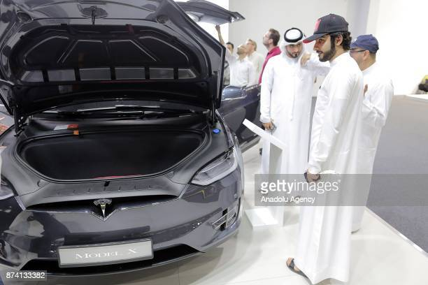 X of Tesla is displayed during Dubai International Motor Show 2017 at Dubai World Trade Centre in Dubai United Arab Emirates on November 14 2017