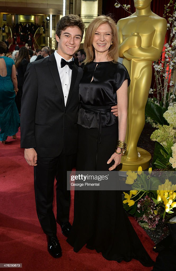 CEO of the Academy of Motion Picture Arts and Sciences Dawn Hudson and son Sam Harrison attend the Oscars held at Hollywood Highland Center on March...