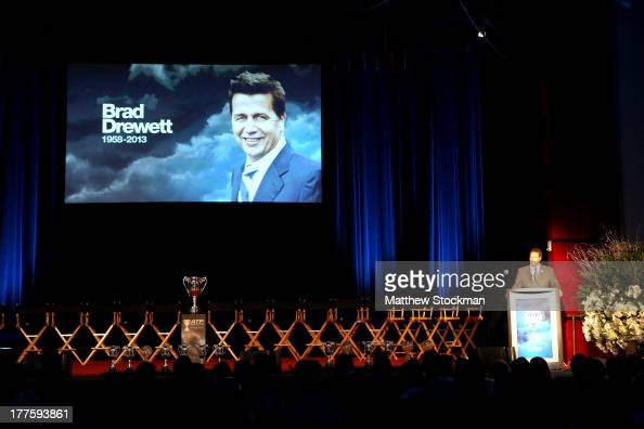 CEO of the Americas Mark Young memorializes Brad Drewett during the ATP Heritage Celebration at The Waldorf=Astoria on August 23 2013 in New York City