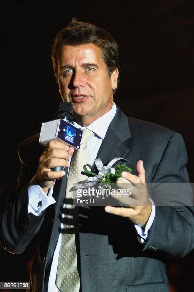 CEO of the ATP International Group Brad Drewett answers questions from the media during a press conference at 798 Art Park on April 28 2009 in...
