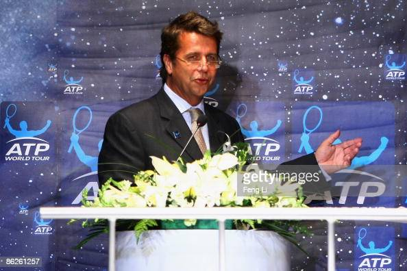 CEO of the ATP International Group Brad Drewett delivers a speech during a press conference at 798 Art Park on April 28 2009 in Beijing China The new...