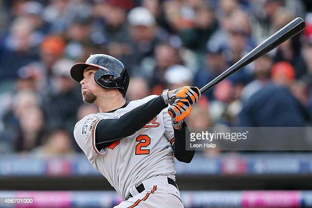 #2 of the Baltimore Orioles flies out in the fourth inning against the Detroit Tigers during Game Three of the American League Division Series at...