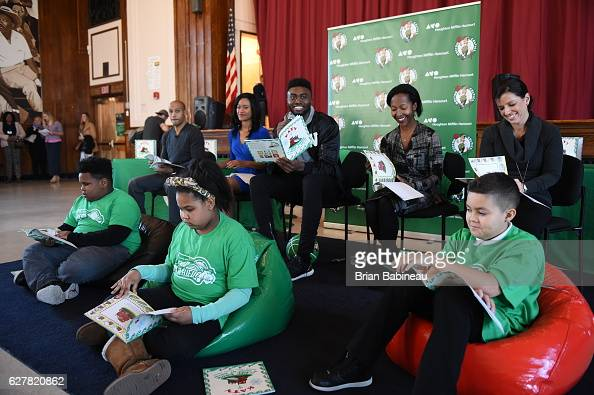 of the Boston Celtics spread holiday cheer duing a children's hospital visit on December 1 2016 at Boston Children's Hospital in Boston Massachusetts...