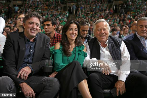 CEO of the Boston Celtics Wyc Grousbeck and Owner of the New England Patriots Robert Kraft attend the game against the Milwaukee Bucks on October 18...