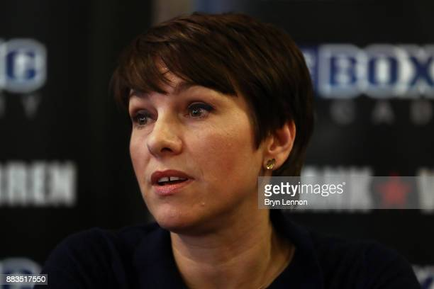 CEO of The Boxing Academy Anna Cain talks to the media during a Boxing Academy Press Conference on November 30 2017 in London England