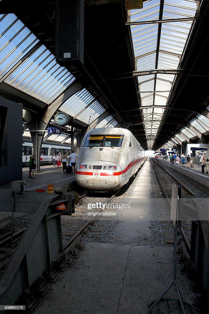 ICE (Intercity Express) of the DB (Deutsche Bahn AG) at Zürich (Zurich) Main Station, Switzerland.