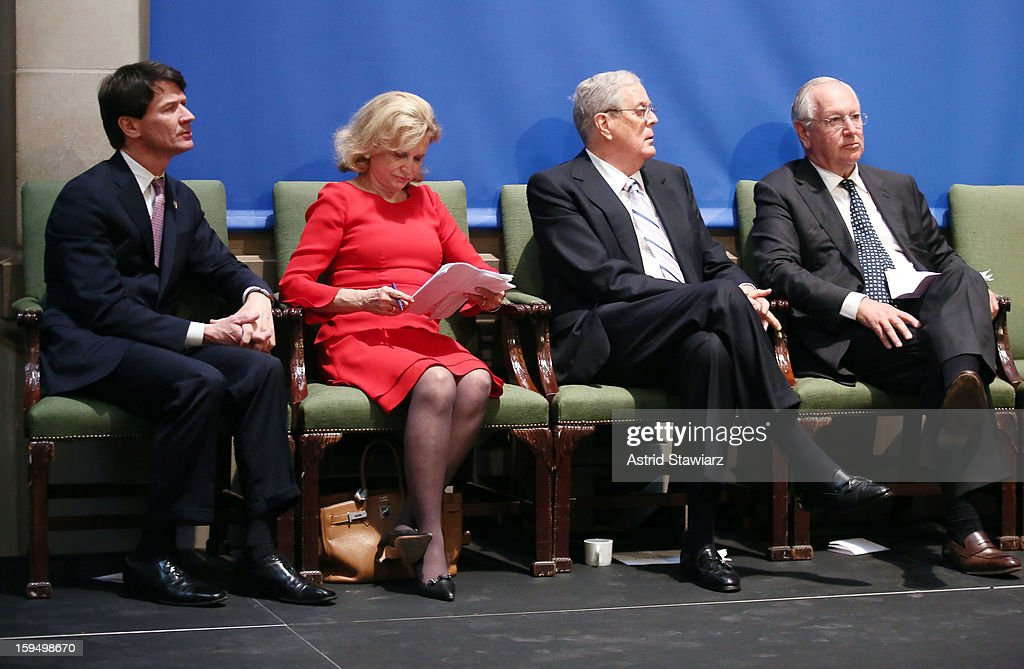 CEO of the Empire State Development Corporation, Kenneth Adams, Congresswoman Carolyn B. Maloney, Philanthropist David H. Koch and Chairman of the Board at the Metropolitan Museum of Art, Daniel Brodsky attend the Fifth Avenue Plaza Groundbreaking at the Metropolitan Museum of Art on January 14, 2013 in New York City.