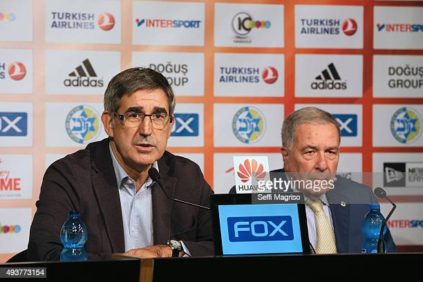 CEO of the Euroleague Basketball Jordi Bertomeu chairman of the Maccabi Tel Aviv Shimon Mizrahi in press conference befor the Turkish Airlines...