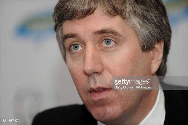CEO of the FAI John Delaney during a press conference to announce a sponsorship agreement with Lucozade Sport at the Grand Hotel in Malahide Ireland