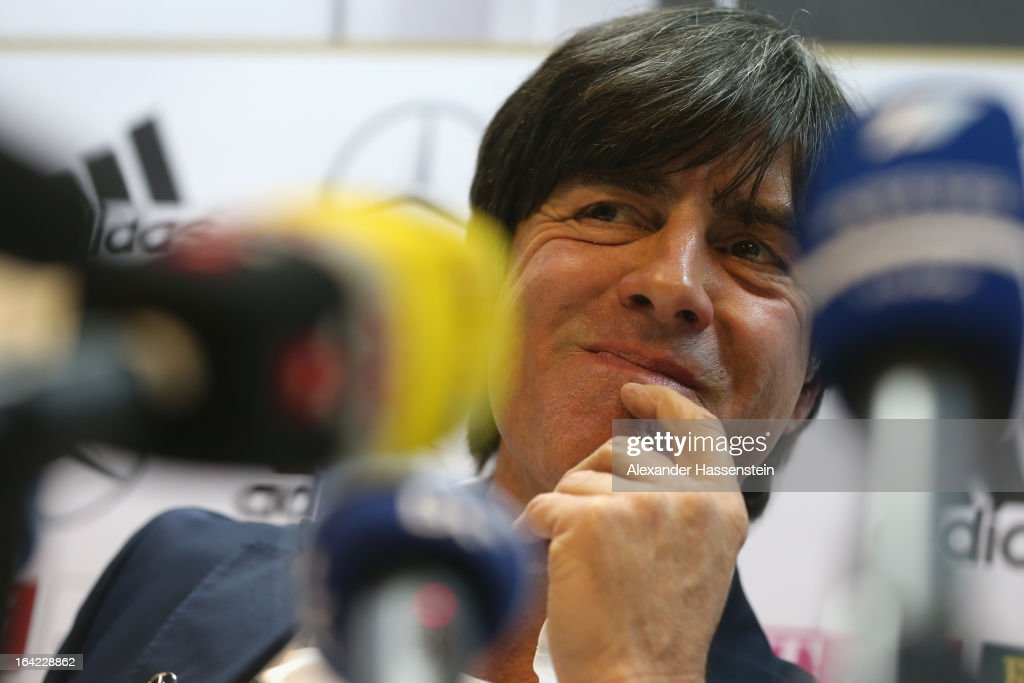 of the German national football team attends a press conference at Astana arena on March 21, 2013 in Astana, Kazakhstan.