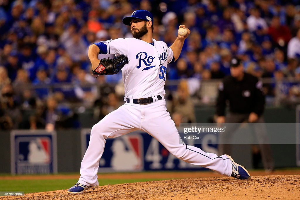 #55 of the Kansas City Royals pitches in the seventh inning against the San Francisco Giants during Game One of the 2014 World Series at Kauffman Stadium on October 21, 2014 in Kansas City, Missouri.