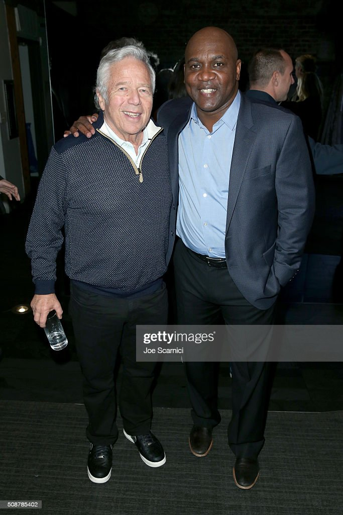 CEO of the Kraft Group <a gi-track='captionPersonalityLinkClicked' href=/galleries/search?phrase=Robert+Kraft&family=editorial&specificpeople=221220 ng-click='$event.stopPropagation()'>Robert Kraft</a> and former NFL player <a gi-track='captionPersonalityLinkClicked' href=/galleries/search?phrase=Thurman+Thomas&family=editorial&specificpeople=575635 ng-click='$event.stopPropagation()'>Thurman Thomas</a> attend the Fanatics Super Bowl Party on February 6, 2016 in San Francisco, California.