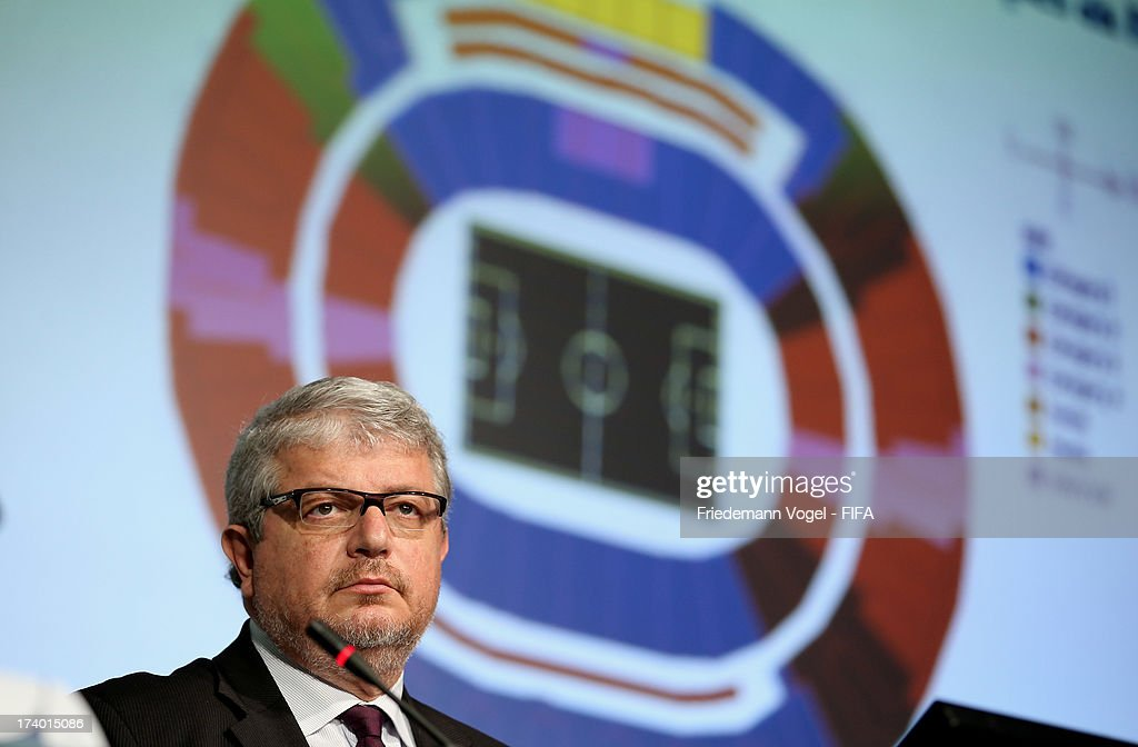 CEO of the LOC Ricardo Trade attends the media briefing to announce the ticketing strategy for the 2014 FIFA World Cup at the Hotel Renaissance on July 19, 2013 in Sao Paulo, Brazil.