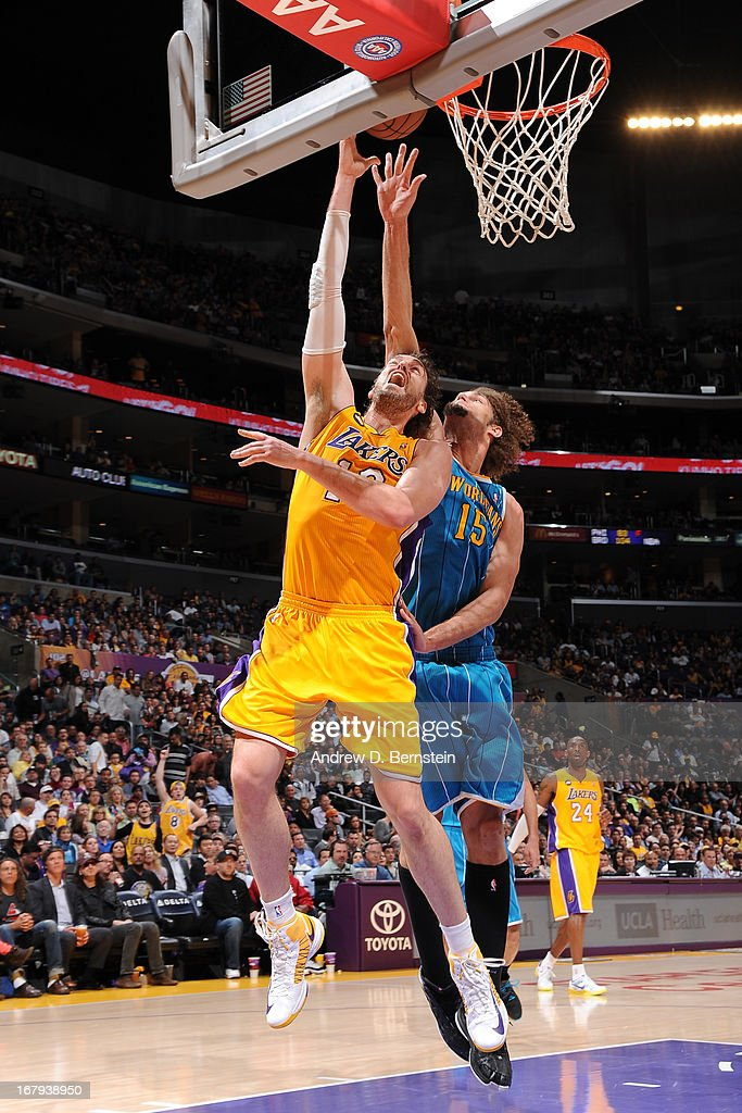 of the Los Angeles Lakers against the New Orleans Hornets at Staples Center on April 9, 2013 in Los Angeles, California.