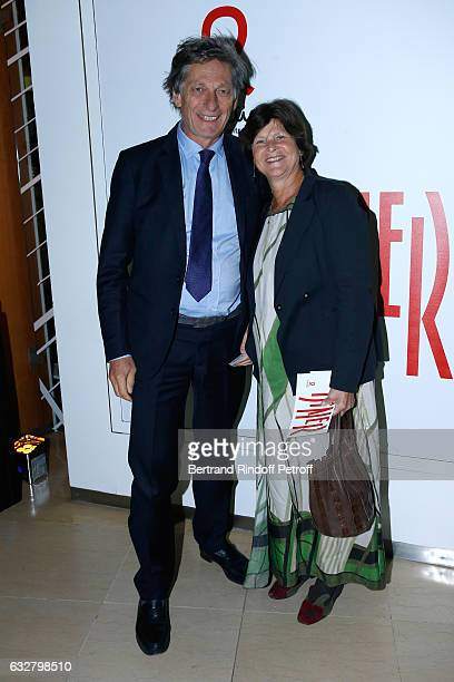 CEO of the M6 television channel Nicolas de Tavernost and his wife attend the Sidaction Gala Dinner 2017 Haute Couture Spring Summer 2017 show as...
