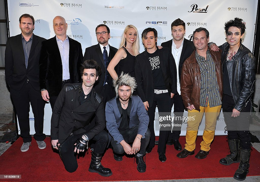 CMO of The Realm Jess Redmon, strategic advisor of The Realm Ross Glick, studio engineer Gavin Reign, studio producer of The Realm Lee Miles, marketing manager of The Realm Zach Webb, creative director of The Realm Tanya Dahl, The Realm CEO Johnny Royal, VP of The Realm Max Liberty, office manager of The Realm Ventura XIII attend The Realm Creative red carpet premier party on February 16, 2013 in Los Angeles, California.
