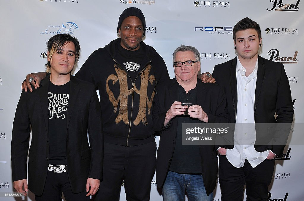 CEO of The Realm Johnny Royal, singer Derrick Green, CEO of Spectacle Entertainment Andy Gould and VP of The Realm Max Liberty attend The Realm Creative red carpet premier party on February 16, 2013 in Los Angeles, California.