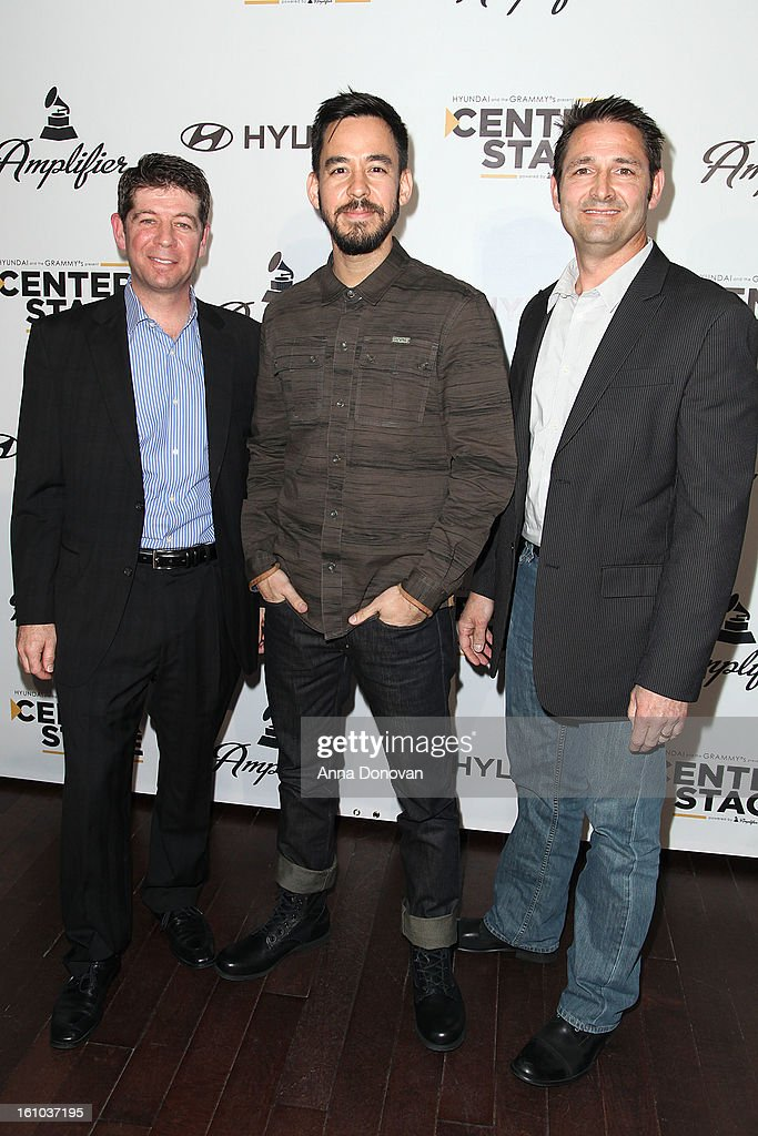 CMO of the Recording Academy Evan Greene, musician/record producer Mike Shinoda and senior group manager of new media at Hyundai Motor America Jon Budd attend a special pre-GRAMMY media presentation and press conference at The Conga Room at L.A. Live on February 8, 2013 in Los Angeles, California.