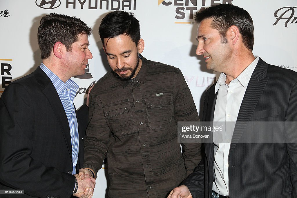 CMO of the Recording Academy Evan Greene, musician/record producer <a gi-track='captionPersonalityLinkClicked' href=/galleries/search?phrase=Mike+Shinoda&family=editorial&specificpeople=657527 ng-click='$event.stopPropagation()'>Mike Shinoda</a> and senior group manager of new media at Hyundai Motor America Jon Budd attend a special pre-GRAMMY media presentation and press conference at The Conga Room at L.A. Live on February 8, 2013 in Los Angeles, California.