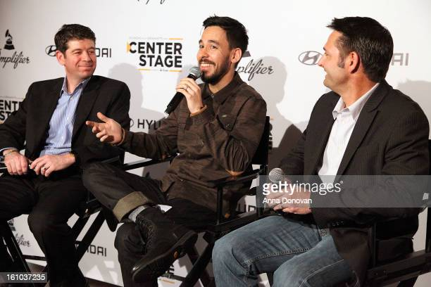 CMO of the Recording Academy Evan Greene musician/record producer Mike Shinoda and senior group manager of new media at Hyundai Motor America Jon...