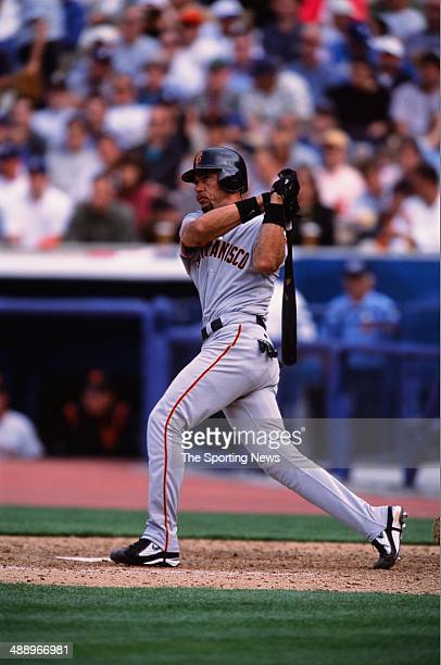 of the San Francisco Giants bats against the Los Angeles Dodgers at Dodger Stadium on April 2 2002 in Los Angeles California