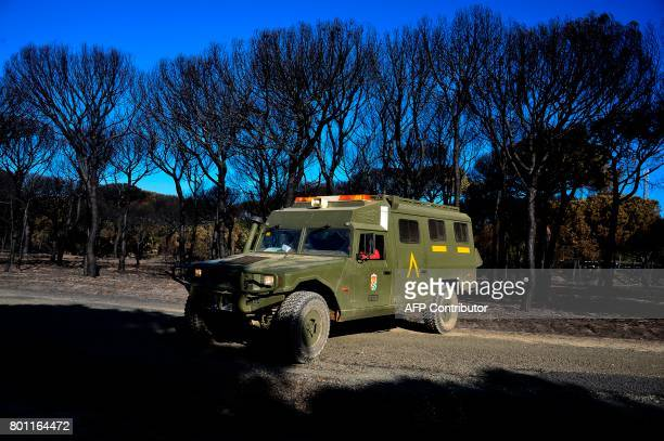 of the Spanish Army wait on a road on June 26 2017 near a charred forest in Mazagon next to the Donana National Park More than 1500 people were...