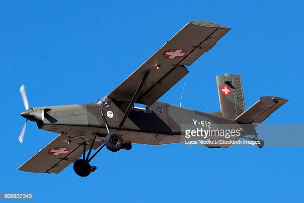 A PC-6 of the Swiss Air Force in flight over Switzerland.
