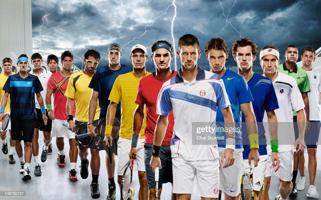 15 of the top male tennis players in the world Ryan Harrison of United States Bernard Tomic of Australia Milos Raonic of Canada Kei Nishikori of...