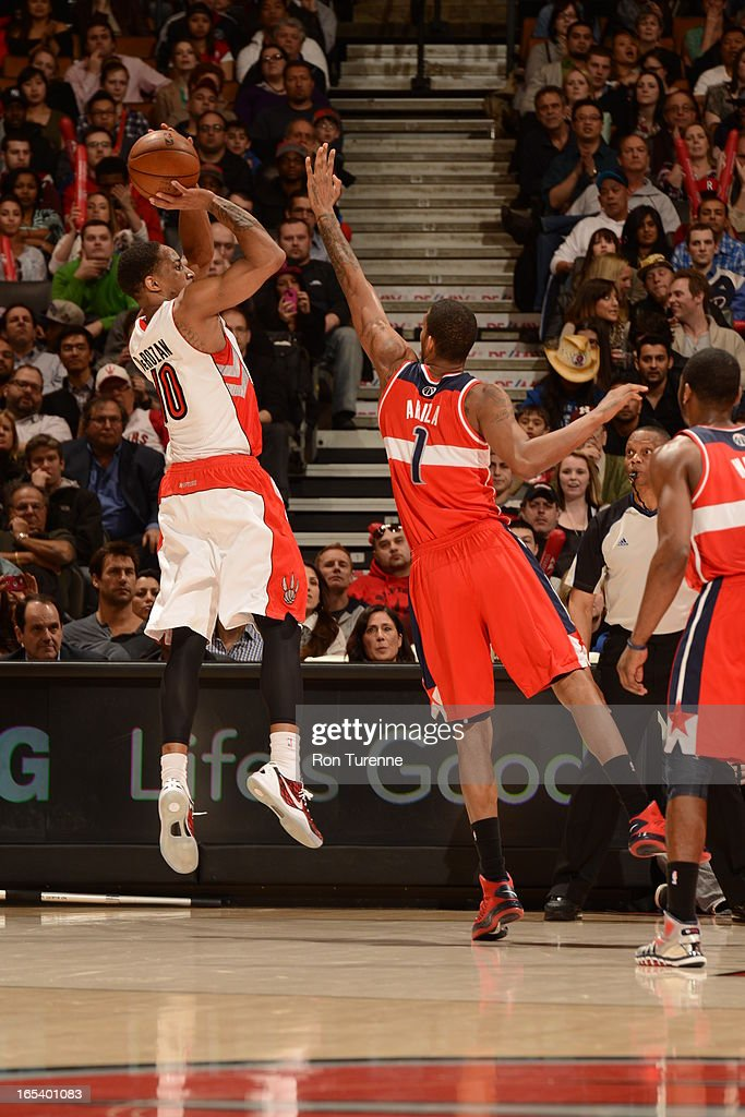 of the Toronto Raptors against the Washington Wizards during the game on April 3, 2013 at the Air Canada Centre in Toronto, Ontario, Canada.