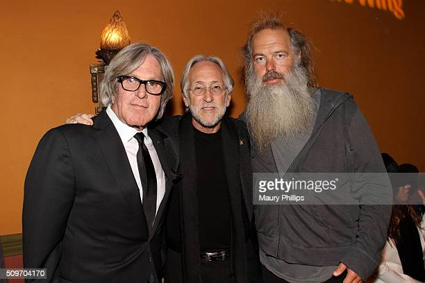 CEO of The Village Jeff Greenberg The Recording Academy CEO and President Neil Portnow and honoree Rick Rubin pose during the PE Wing Event honoring...
