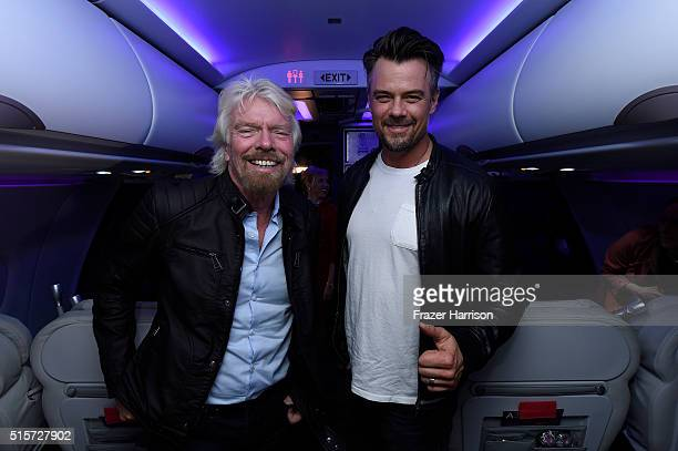 CEO of the Virgin group Sir Richard Branson and actor Josh Duhamel attend Virgin America's San Francisco to Denver service Launch on March 15 2016 in...