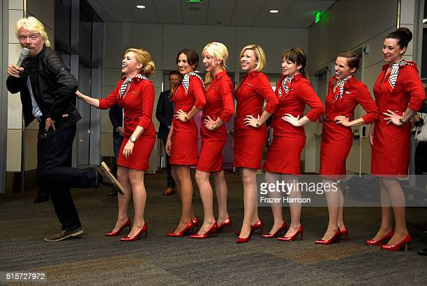 CEO of the Virgin group Sir Richard Branson attends Virgin America's San Francisco to Denver service Launch on March 15 2016 in San Francisco CA