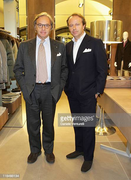 CEO of Tod's Diego Della Valle and President of Fiorentina AC Andrea Della Valle attends Fay flagship store opening at Via Fontanella Borghese on...