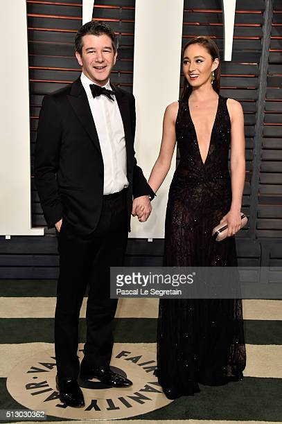 CEO of Uber Travis Kalanick and Gabi Holzwarth attend the 2016 Vanity Fair Oscar Party Hosted By Graydon Carter at the Wallis Annenberg Center for...