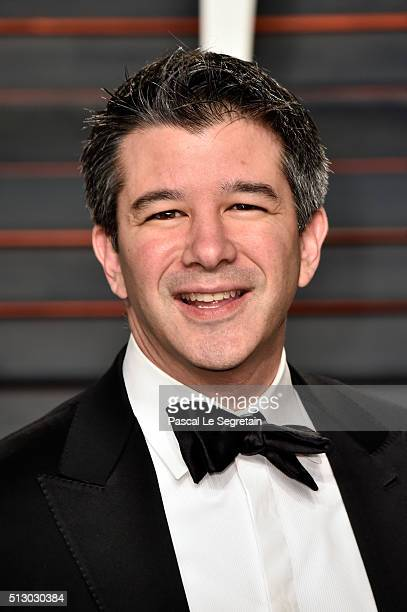 CEO of Uber Travis Kalanick attends the 2016 Vanity Fair Oscar Party Hosted By Graydon Carter at the Wallis Annenberg Center for the Performing Arts...