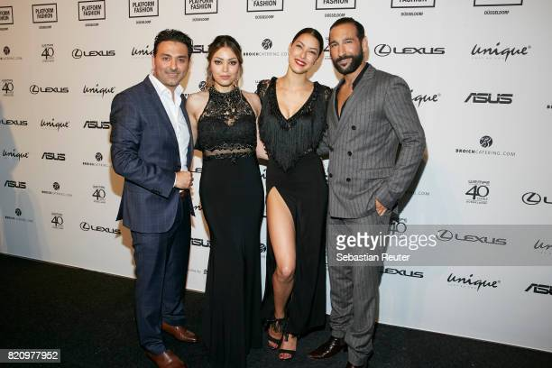 CEO of Unique Shahin Moghadam and his wife with Rebecca Mir and Massimo Senato attend the Unique after party during Platform Fashion July 2017 at...