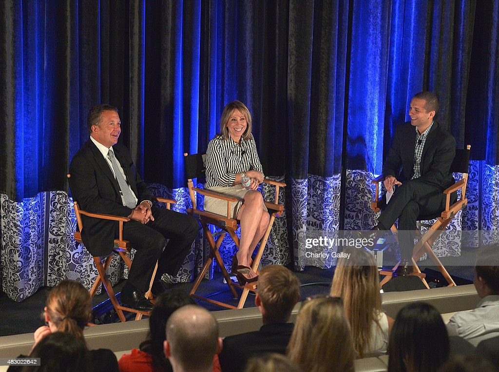 CEO of UTA Jeremy Zimmer, Co-Chair of 20th Century FOX Films Stacey Snider and LinkedIn Executive Editor Dan Roth speak at the LinkedIn Discussion Series at UTA at United Talent Agency on August 5, 2015 in Beverly Hills, California.
