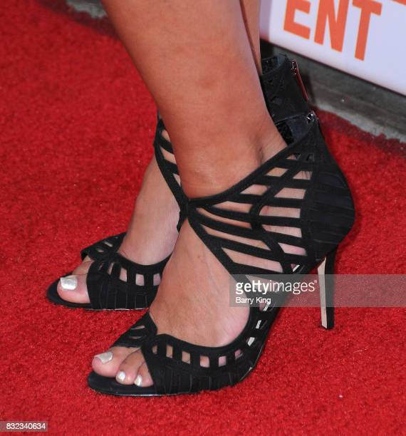 VP of video marketing ATT's Hanny Patel shoe detail attends screening of Saban Films and DIRECTV's' 'Shot Caller' at The Theatre at Ace Hotel on...