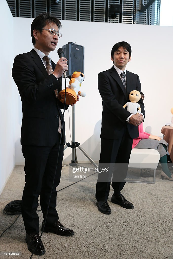 CEO of Vstone Ltd., Nobuo Yamato and associate professor Yuuichiro Yoshikawa speak during the press conference to introduce the sociable robots, 'CommU' and 'Sota' hosted by only the robot science communicator Otonaroid and the robot anchor Kodomoroid at the National Museum of Emerging Science and Technology (Miraikan) on January 20, 2015 in Tokyo, Japan. CommU and Sota, developed to improve humanoids' sense of interaction in dialogue, make people feel more engaged in conversation with them by featuring diverse eye movements and gaze directions.