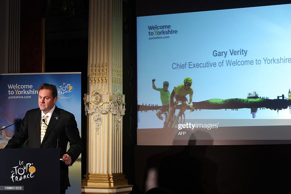CEO of Welcome to Yorkshire Gary Verity delivers a speech, on January 17, 2013 in Paris, during the official presentation of the 2014 Tour de France's 'Grand depart' (Great departure). The 2014 Tour de France will start with a stage between Leeds and Harrogate in the northern English county of Yorkshire on July 5, organisers of cycling's most prestigious and gruelling race announced today.