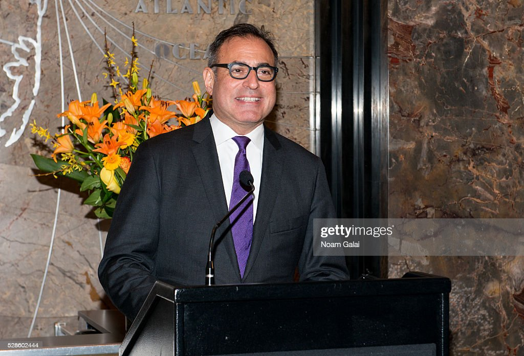 CEO of Welltower Thomas DeRosa lights the Empire State Building to raise awareness of the Alzheimer's disease on May 06, 2016 in New York, New York.