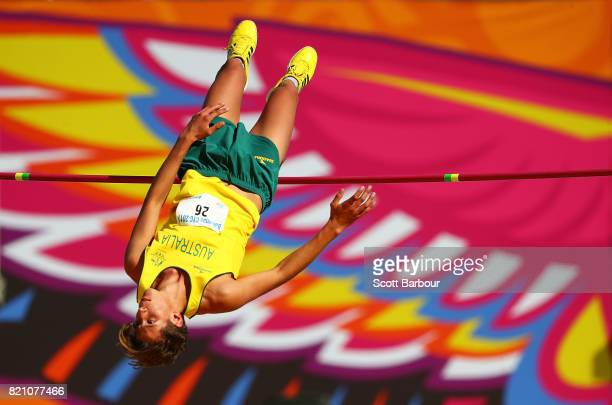 XXXX of XXX competes in the XXXX on day # of the 2017 Youth Commonwealth Games at Thomas A Robinson National Stadium on July 22 2017 in Nassau Bahamas