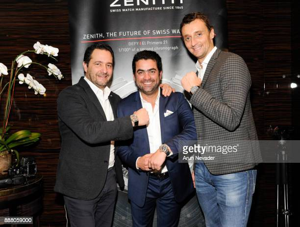 CEO of Zenith Julien Tornare CEO of Vagu Fernando Valero and Sales and Marketing Director at Zenith Benoit Vulliet attend the cocktail reception at...