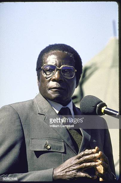 PM of Zimbabwe Robert G Mugabe in military uniform speaking at election rally at Tsholotsho
