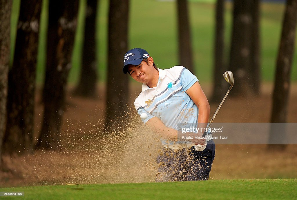 XXX of ZZZ plays a shot during round two of the Bashundhara Bangladesh Open at Kurmitola Golf Club on February 11, 2016 in Dhaka, Bangladesh.
